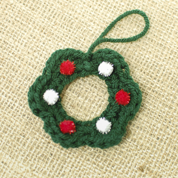 Crocheted Christmas Wreath Ornament