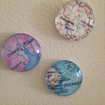 Glass Map Magnets