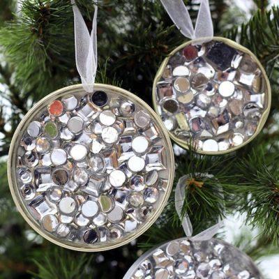 Rhinestone Recycled Ornament