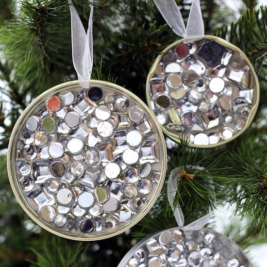 Rhinestone recycled ornament fun family crafts for Recycled decoration
