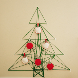 Nail and String Christmas Tree