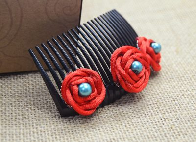 Hair Combs with Handmade Knot Roses