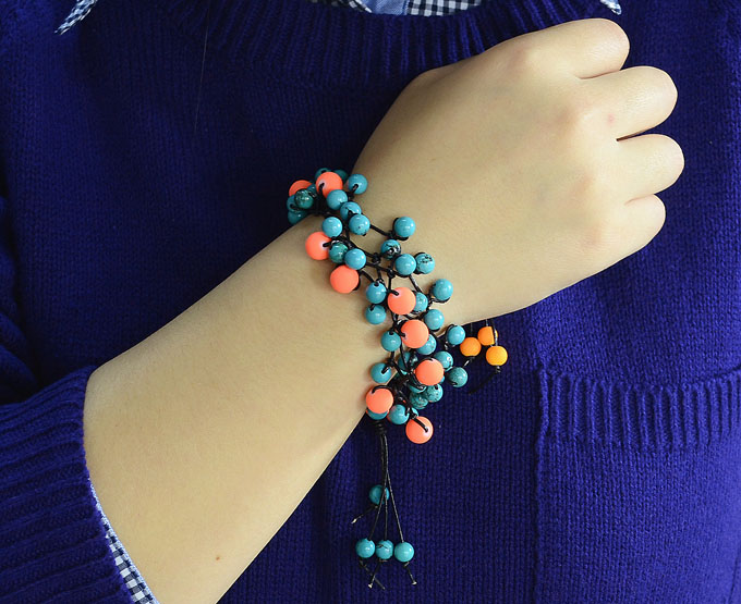 Multi-strand String and Bead Bracelet