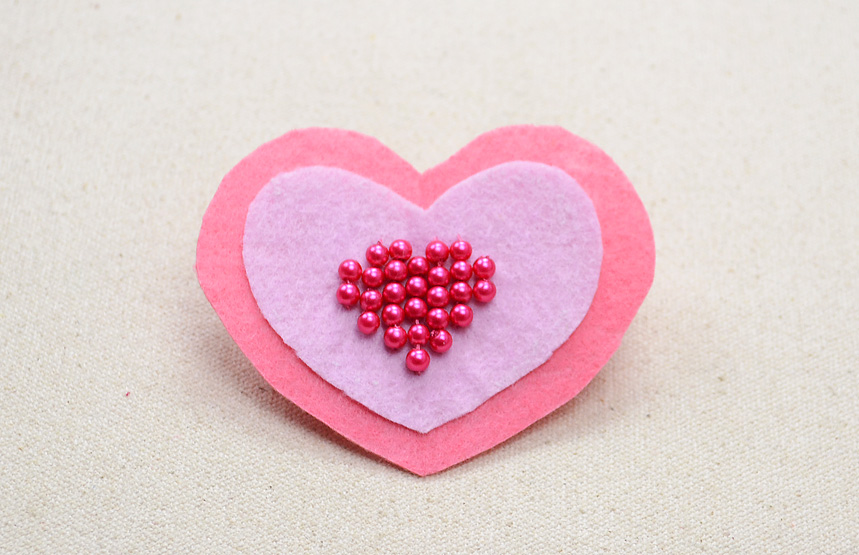 Felt Heart Brooch with Glass Pearls