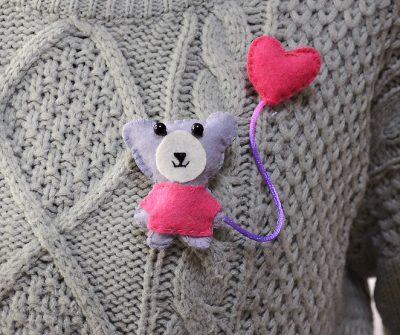Little Pink Bear Brooch