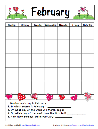 Free February Learning Calendar : Fun Family Crafts