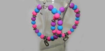 Colored Beaded Hoop Earrings