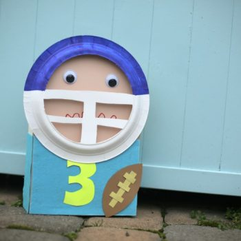 Recycled Cereal Box Football Player Puppet
