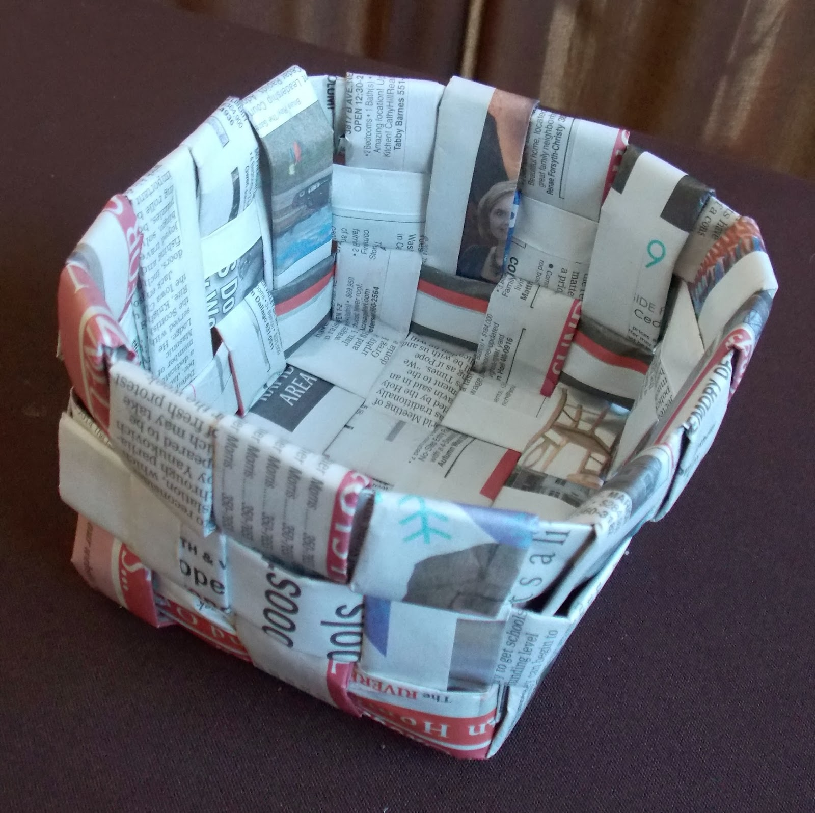 Handicraft Newspaper Basket : Newspaper basket fun family crafts