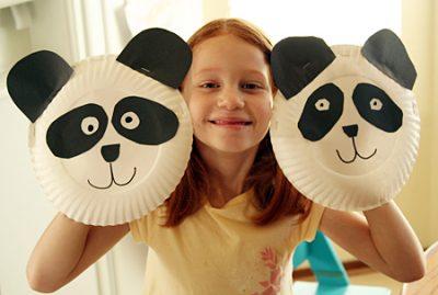 Paper Plate Panda Puppet