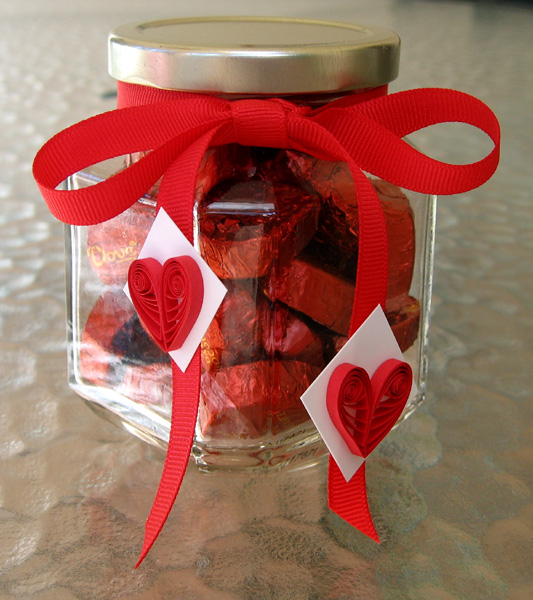 Quilled Heart Candy Jar