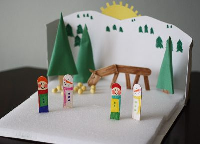 Cereal Box Winter Diorama