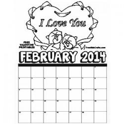 2014 February Coloring calendar