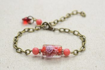 Chain Bracelet with Lampwork Bead