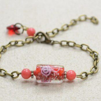 Chain Bracelet with Lampwork Bead