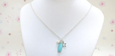 Turquoise and Pearl Charm Necklace