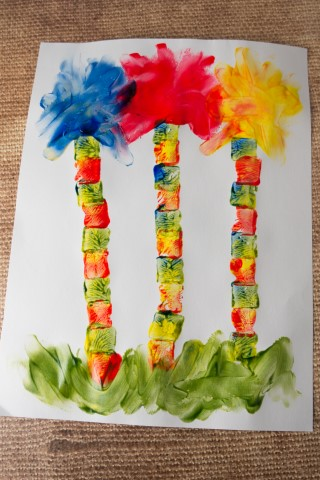 Lorax Trees Finger Painting