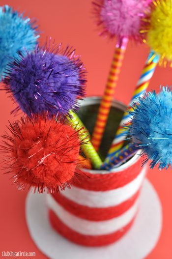 Dr. Suess Pencil Cup Hat with Truffula Tree Pencils