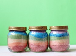 Rainbow Salt Art Jar