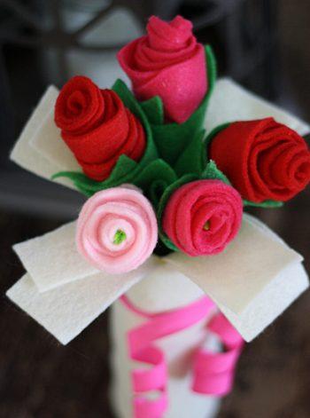 Cardboard Tube Bouquet of Felt Roses