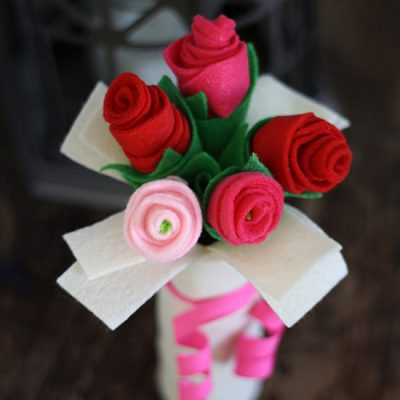 Cardboard Tube Bouquet of Felt Roses