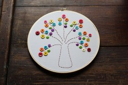 Embroidery Hoop Rainbow Tree