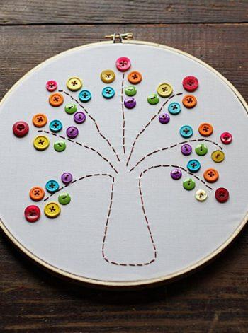 Embroidery Hoop Rainbow Tree