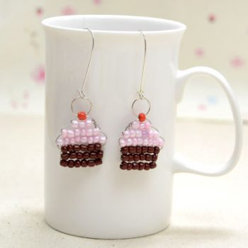 Seed Bead Cupcake Earrings