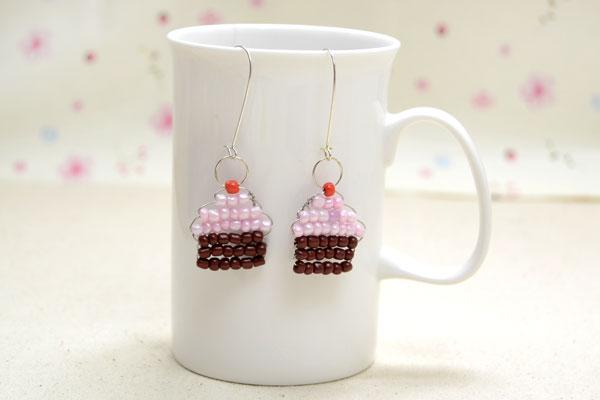 Seed Bead Cupcake Earrings