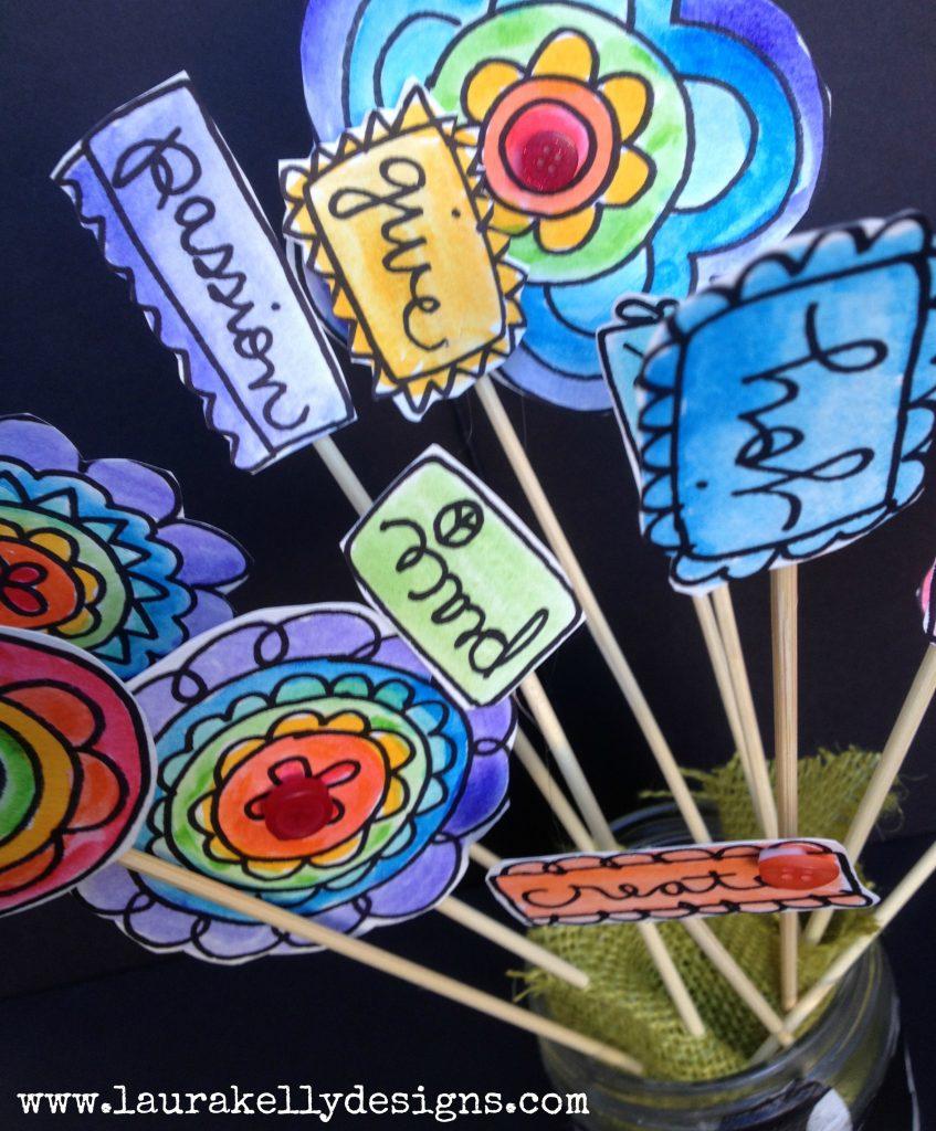 Doodle Rainbow Flower Garden