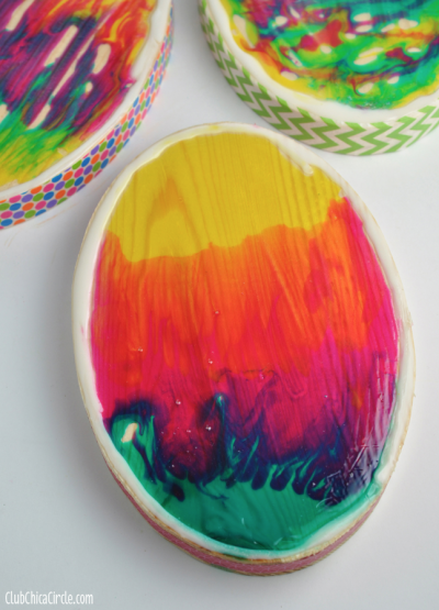 Glass Stained Wood Easter Egg Decorations
