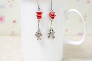 Bead Earrings with Fish Pendant