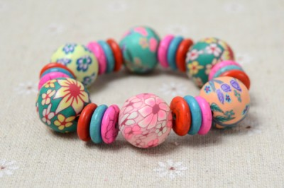 Stretch Bracelet with Polymer Clay