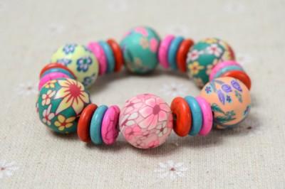 Stretch Bracelet with Polymer Clay