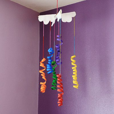 Coiled Cardboard Tube Rainbow Mobile