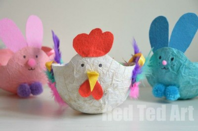 Hen and Bunny Easter Baskets