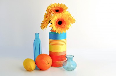 Recycled Striped Vase