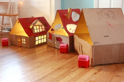 Lighted Cardboard Dollhouses Fun Family Crafts