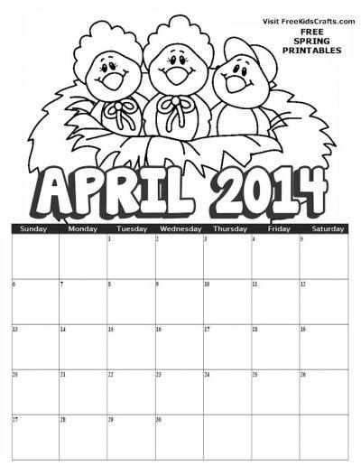 2014 April Coloring Calendar