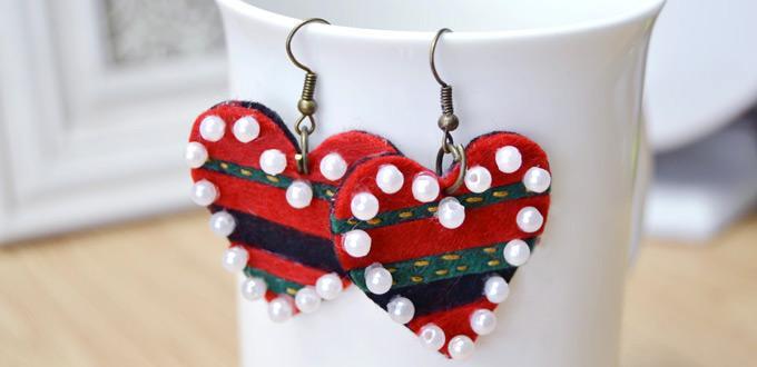 Felt Heart-Shaped Earrings