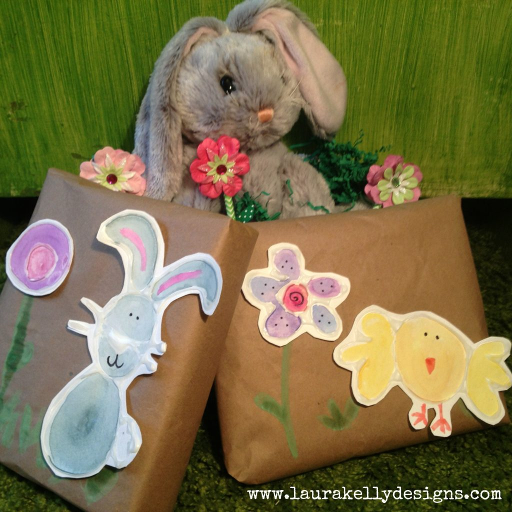 Glue and Water Color Easter Animals