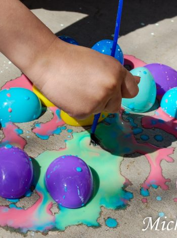 Sidewalk Chalk Painting with Easter Eggs