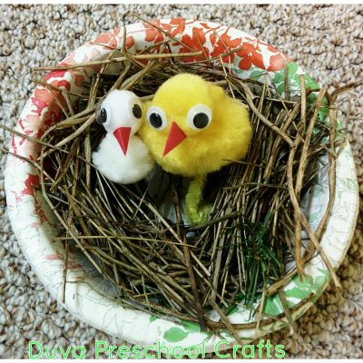 Pom Pom Birds in a Nest