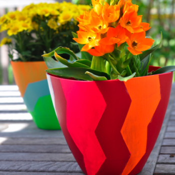 Painted Chevron Planters