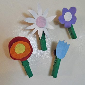Recycled Denim Flower Magnets