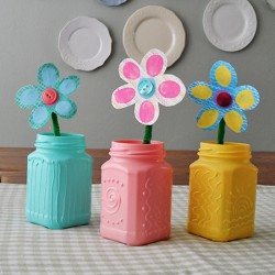 Recycled Spring Jars with Texture