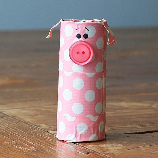 Cardboard Tube Polka Dot Pig