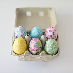 Paper Decorated Wooden Easter Eggs