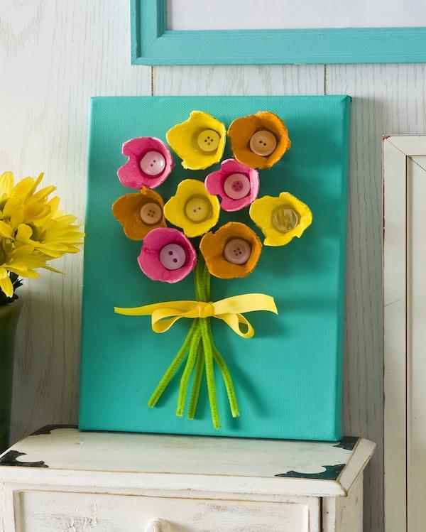 Egg carton bouquet fun family crafts for Styrofoam egg carton crafts