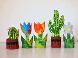 Cardboard Tube Flowers and Cacti